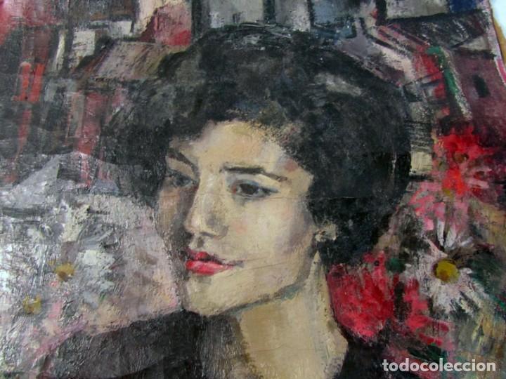 Arte: Óleo pintado sobre lienzo retrato de mujer. Firma Aceves 1965, 79 x 59 cm - Foto 7 - 221302057
