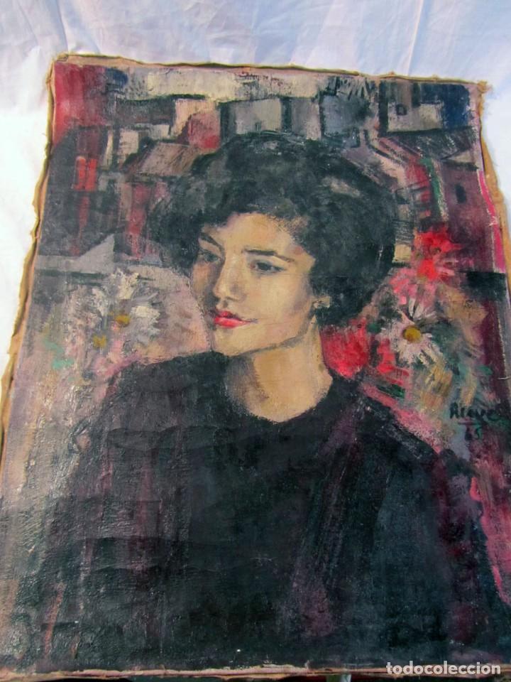 Arte: Óleo pintado sobre lienzo retrato de mujer. Firma Aceves 1965, 79 x 59 cm - Foto 8 - 221302057