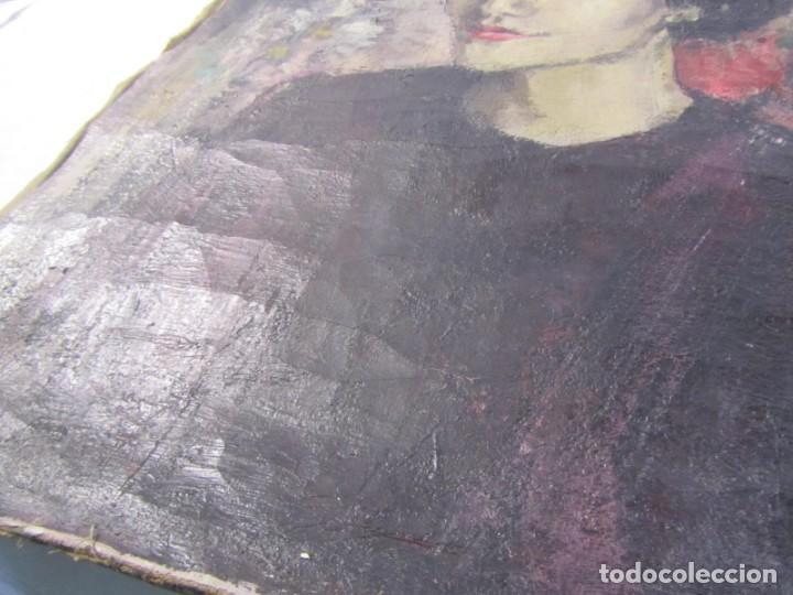 Arte: Óleo pintado sobre lienzo retrato de mujer. Firma Aceves 1965, 79 x 59 cm - Foto 11 - 221302057
