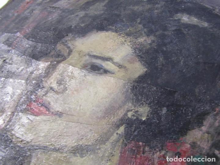 Arte: Óleo pintado sobre lienzo retrato de mujer. Firma Aceves 1965, 79 x 59 cm - Foto 12 - 221302057