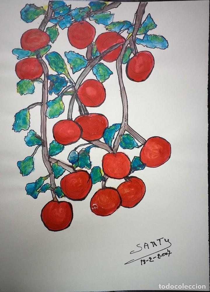 DIBUJO SOBRE CARTULINA 69 X 50 - RACIMO UVAS - SANTY (Arte - Pintura Directa del Autor)