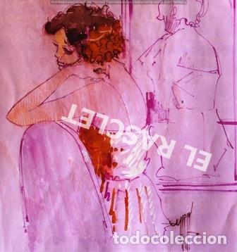 DIBUJO A TINTA A COLOR - MUSA DEL PINTOR ACUARELISTA - JOSEP MARFA GUARRO BCN - AÑO 1979 - (Arte - Pintura Directa del Autor)