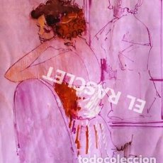 Arte: DIBUJO A TINTA A COLOR - MUSA DEL PINTOR ACUARELISTA - JOSEP MARFA GUARRO BCN - AÑO 1979 -. Lote 221397168