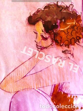 Arte: DIBUJO A TINTA A COLOR - MUSA DEL PINTOR ACUARELISTA - JOSEP MARFA GUARRO BCN - AÑO 1979 - - Foto 2 - 221397168