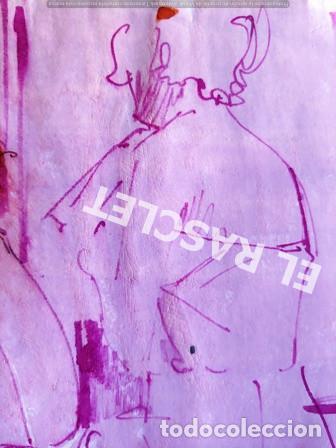 Arte: DIBUJO A TINTA A COLOR - MUSA DEL PINTOR ACUARELISTA - JOSEP MARFA GUARRO BCN - AÑO 1979 - - Foto 3 - 221397168
