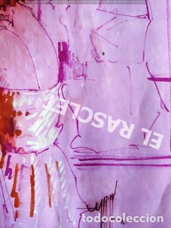 Arte: DIBUJO A TINTA A COLOR - MUSA DEL PINTOR ACUARELISTA - JOSEP MARFA GUARRO BCN - AÑO 1979 - - Foto 5 - 221397168