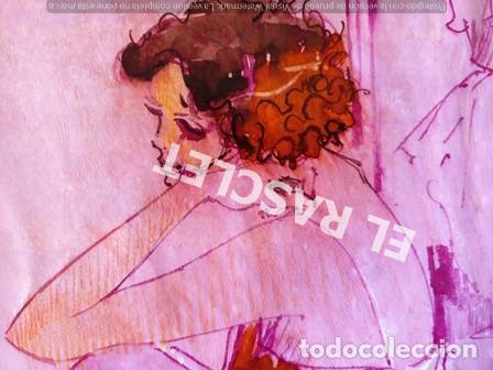 Arte: DIBUJO A TINTA A COLOR - MUSA DEL PINTOR ACUARELISTA - JOSEP MARFA GUARRO BCN - AÑO 1979 - - Foto 6 - 221397168