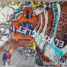 Arte: DIBUJO A TINTA Y COLOR - PARK GUELL -DEL PINTOR ACUARELISTA - JOSEP MARFA GUARRO BCN - AÑO 1979 -. Lote 221397976