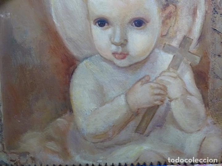 Arte: ÓLEO SOBRE TABLEX ANONIMO.NIÑO JESÚS CON CRUZ.BUEN TRAZO. - Foto 3 - 221426802