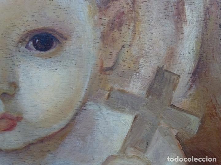 Arte: ÓLEO SOBRE TABLEX ANONIMO.NIÑO JESÚS CON CRUZ.BUEN TRAZO. - Foto 7 - 221426802