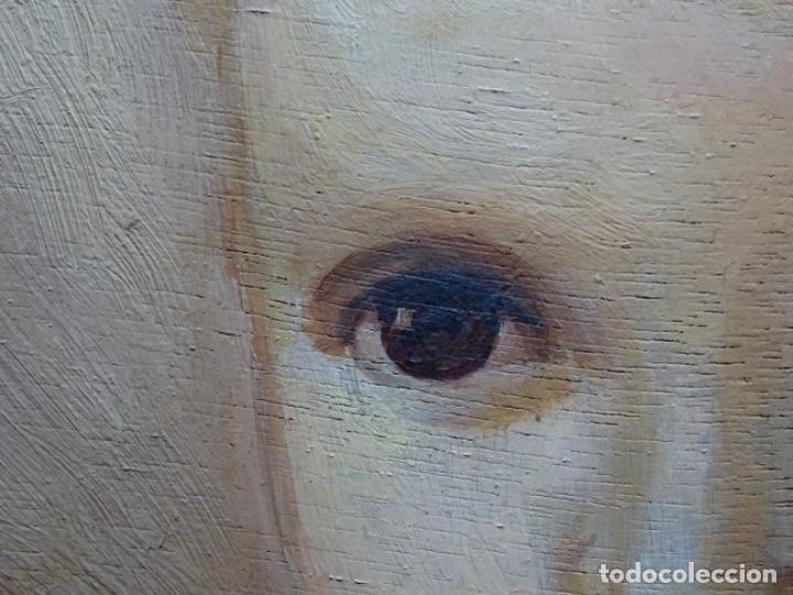 Arte: ÓLEO SOBRE TABLEX ANONIMO.NIÑO JESÚS CON CRUZ.BUEN TRAZO. - Foto 9 - 221426802