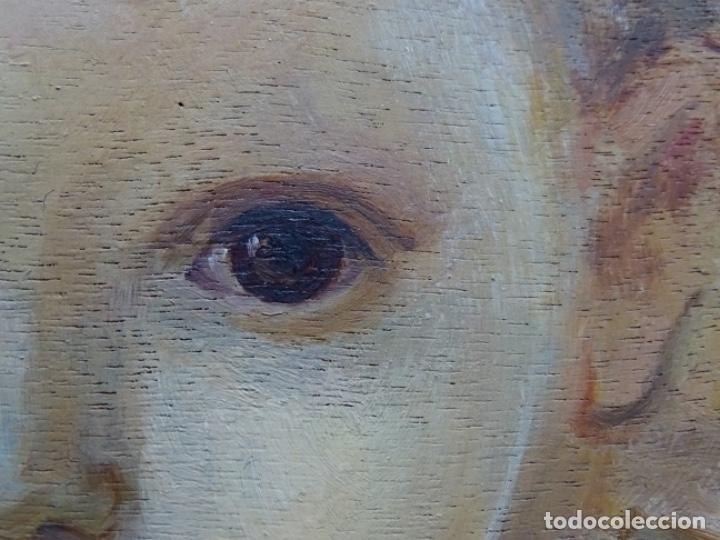 Arte: ÓLEO SOBRE TABLEX ANONIMO.NIÑO JESÚS CON CRUZ.BUEN TRAZO. - Foto 10 - 221426802