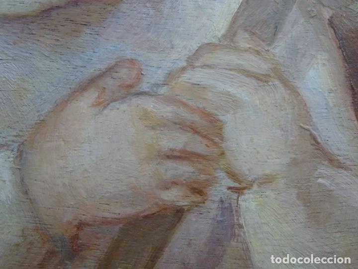 Arte: ÓLEO SOBRE TABLEX ANONIMO.NIÑO JESÚS CON CRUZ.BUEN TRAZO. - Foto 12 - 221426802