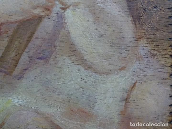 Arte: ÓLEO SOBRE TABLEX ANONIMO.NIÑO JESÚS CON CRUZ.BUEN TRAZO. - Foto 15 - 221426802