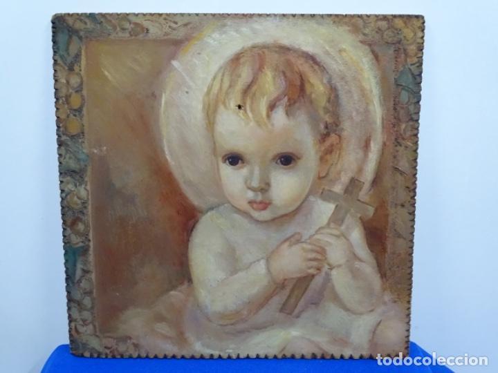 ÓLEO SOBRE TABLEX ANONIMO.NIÑO JESÚS CON CRUZ.BUEN TRAZO. (Arte - Pintura - Pintura al Óleo Contemporánea )