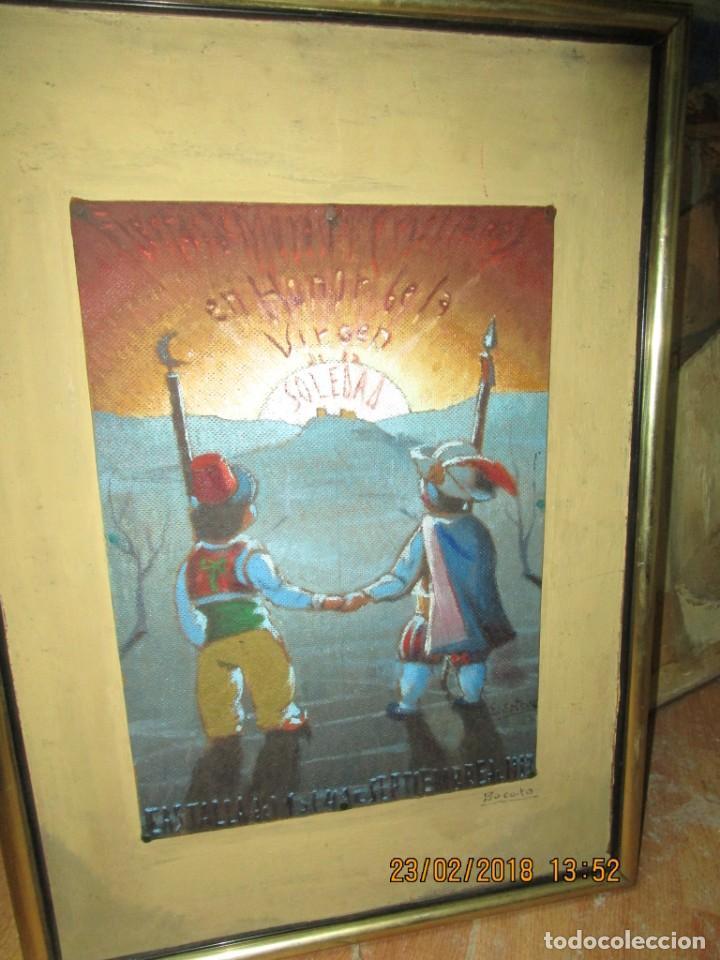 PINTURA AL OLEO ALICANTE FIESTAS MOROS Y CRISTIANOS CASTALLA FIRMADO HONOR VIRGEN SOLEDAD (Arte - Pintura - Pintura al Óleo Moderna sin fecha definida)