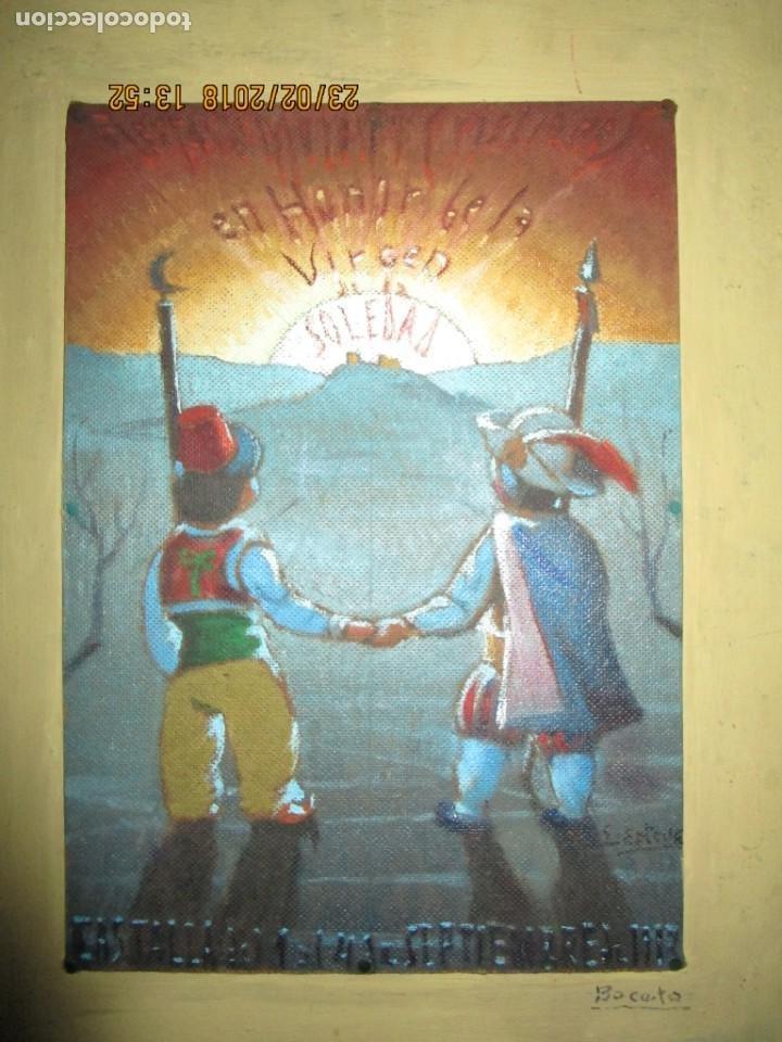 Arte: pintura al oleo alicante fiestas moros y cristianos castalla firmado honor virgen soledad - Foto 3 - 221441043