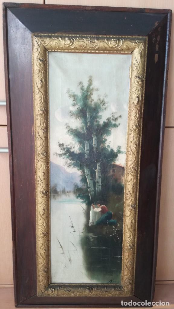 ESCUELA CATALANA SIGLO XIX ANTIGUA PAREJA DE OLEOS SOBRE TELA FIRMADO ROCA PAISAJES (Arte - Pintura - Pintura al Óleo Moderna siglo XIX)
