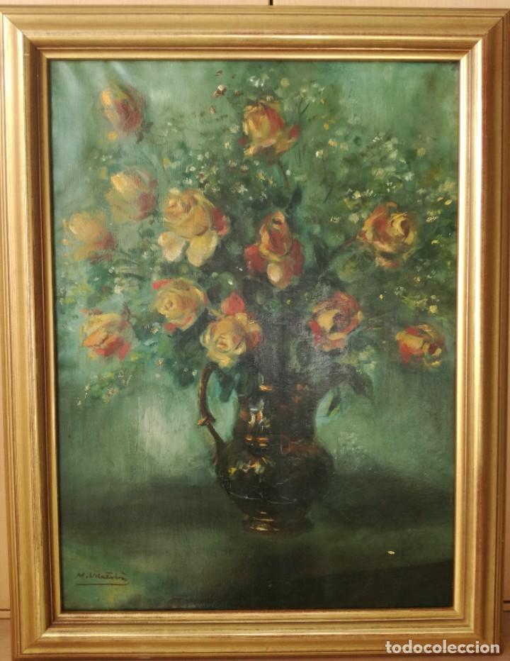 ESCUELA CATALANA JARRÓN CON FLORES ANTIGUO OLEO SOBRE TELA FIRMADO PERFECTAMENTE ENMARCADO (Arte - Pintura - Pintura al Óleo Contemporánea )