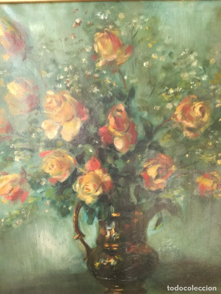 Arte: Escuela catalana jarrón con flores antiguo oleo sobre tela firmado perfectamente enmarcado - Foto 5 - 221456643