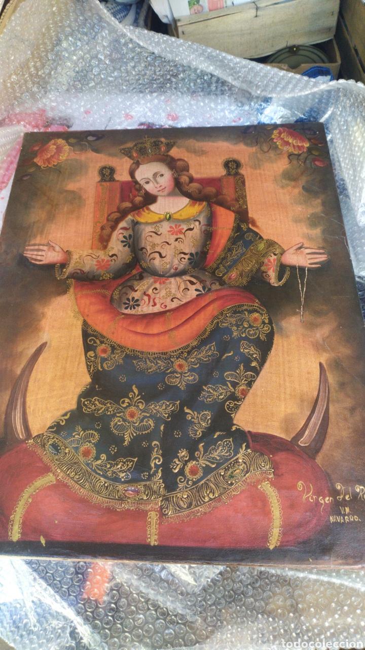Arte: Impresionante Virgen del Rosario óleo sobre lienzo por V.M NAVARRO - Foto 2 - 221458376