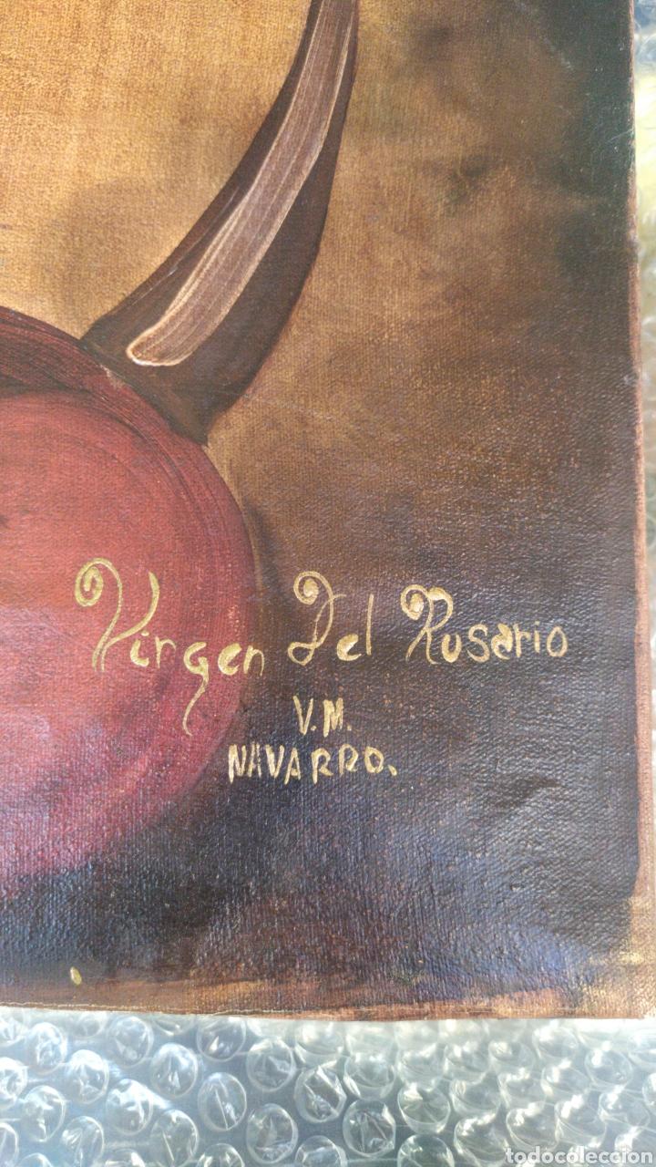 Arte: Impresionante Virgen del Rosario óleo sobre lienzo por V.M NAVARRO - Foto 3 - 221458376
