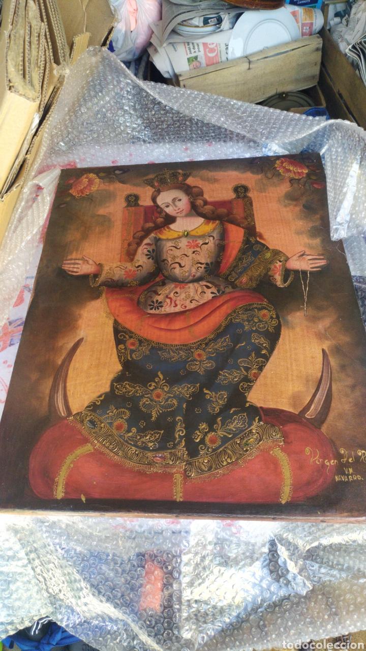 IMPRESIONANTE VIRGEN DEL ROSARIO ÓLEO SOBRE LIENZO POR V.M NAVARRO (Arte - Pintura - Pintura al Óleo Antigua siglo XVIII)