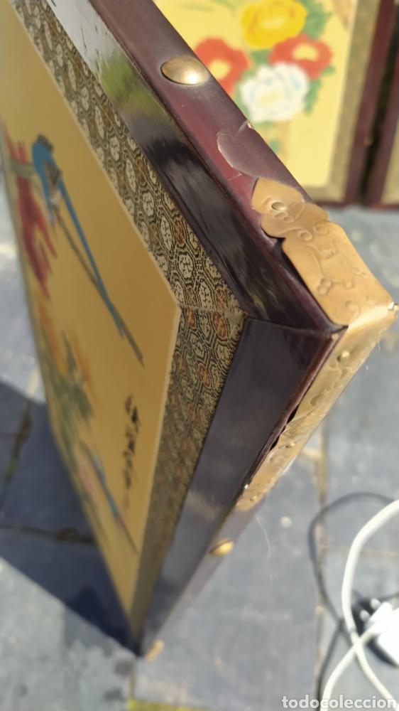 Arte: Tríptico oriental pintura sobre tela sello - Foto 6 - 221462360