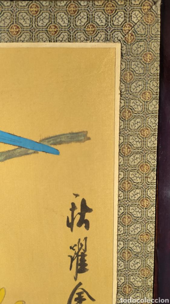 Arte: Tríptico oriental pintura sobre tela sello - Foto 5 - 221462360