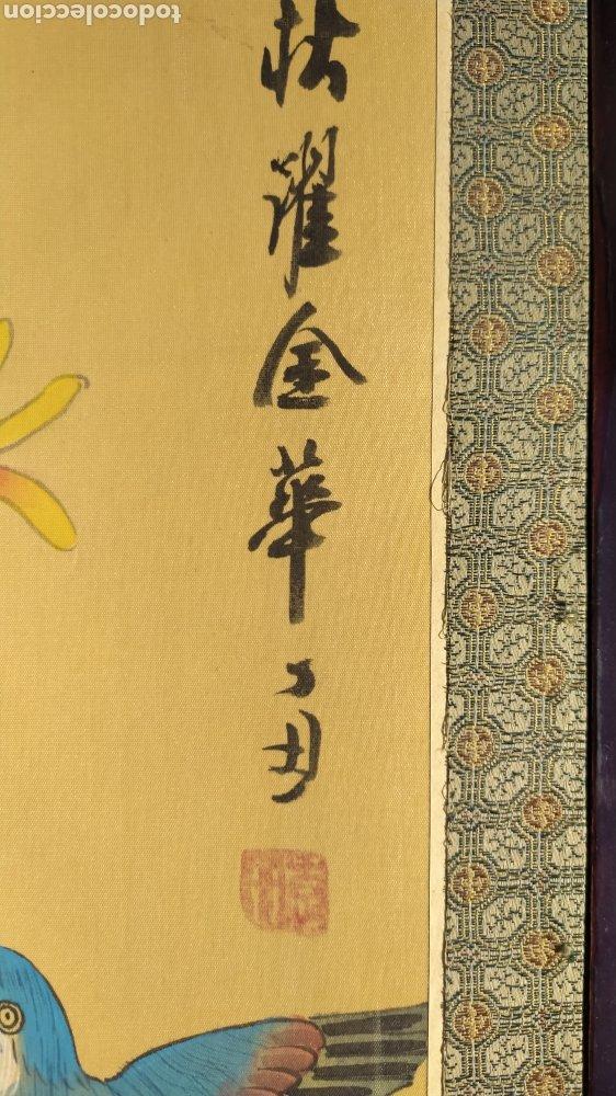 Arte: Tríptico oriental pintura sobre tela sello - Foto 4 - 221462360