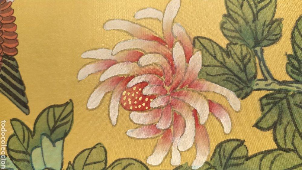 Arte: Tríptico oriental pintura sobre tela sello - Foto 3 - 221462360