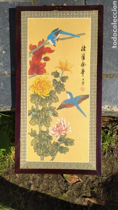 Arte: Tríptico oriental pintura sobre tela sello - Foto 7 - 221462360