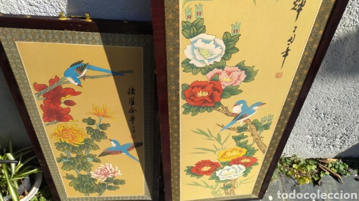 Arte: Tríptico oriental pintura sobre tela sello - Foto 2 - 221462360