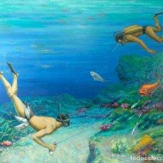 Arte: VICENTE OLIVER (1861-1930) ÓLEO SOBRE LIENZO FONDO MARINO CON SUBMARINISTAS FIRMADO. Lote 221480990