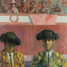 Arte: ÓLEO SOBRE LIENZO TOREROS FIRMADO EN REVERSO PIERRE OLIVER RIBALTA 1980. Lote 221481700