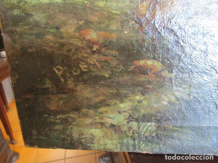 Arte: Manuel Pigem Ras (Banyoles 1862-1946) - Paisaje del Estanque - Óleo Sobre Tela - Foto 15 - 172713327