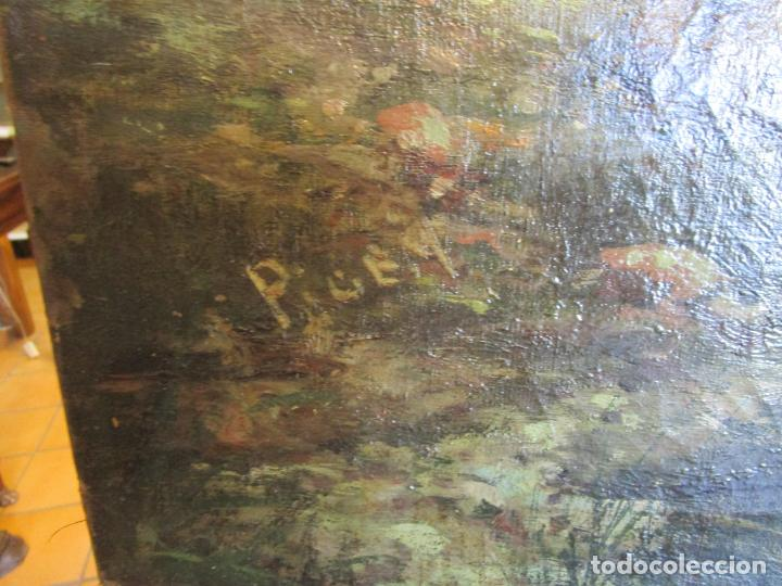 Arte: Manuel Pigem Ras (Banyoles 1862-1946) - Paisaje del Estanque - Óleo Sobre Tela - Foto 16 - 172713327