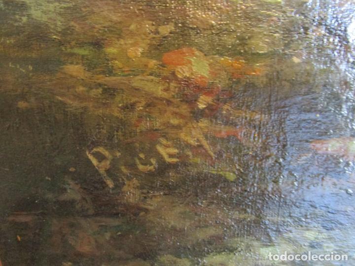 Arte: Manuel Pigem Ras (Banyoles 1862-1946) - Paisaje del Estanque - Óleo Sobre Tela - Foto 17 - 172713327