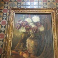 Arte: (M-R/C) ANTIGUA PINTURA AL ÓLEO FLORERO FIRMA ILEGIBLE ENMARCADO 83X73 CM. ÓLEO 65X55 CM.. Lote 221553191