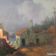 Arte: LEONARDO ABELENDA FREIRE. (A CORUÑA 1928 - MADRID 1995). NOCTURNO EN COMBARRO. ÓLEO SOBRE TABLEX.. Lote 221578378