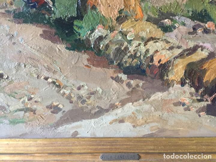 Arte: Vilá Cañellas, José Maria (1914-2001). Óleo sobre lienzo. Paisaje rural gran formato - Foto 3 - 221585560