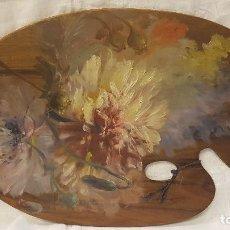 Arte: PALETA PINTOR CON BODEGON FLORES. Lote 221594367