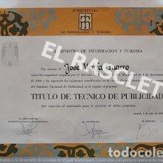 Arte: ANTIGUO TITULO DE TECNICO EN PUBLICIDAD DE JOSEP MARFA GUARRO DE BCN - SPAIN -. Lote 221603107