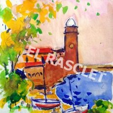 Arte: PINTURA ACUARELA DE - COLLIURE - DE JOSEP MARFA GUARRO DE BCN - SPAIN -. Lote 221603447