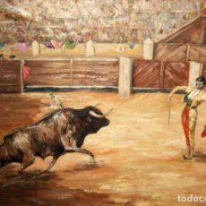 Arte: FIRMADO MAGALLON. OLEO SOBRE TELA FECHADO DEL AÑO 1985. ESCENA TAURINA. Lote 221633516