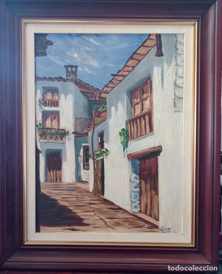 OLEO SOBRE LIENZO CALLE DE PUEBLO (Arte - Pintura - Pintura al Óleo Contemporánea )