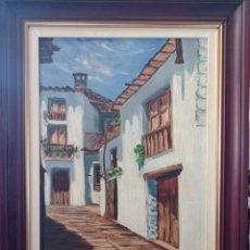 Arte: OLEO SOBRE LIENZO CALLE DE PUEBLO. Lote 221648880