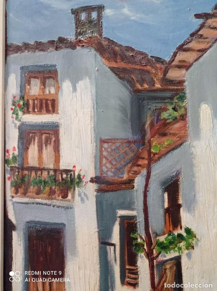 Arte: OLEO SOBRE LIENZO CALLE DE PUEBLO - Foto 3 - 221648880