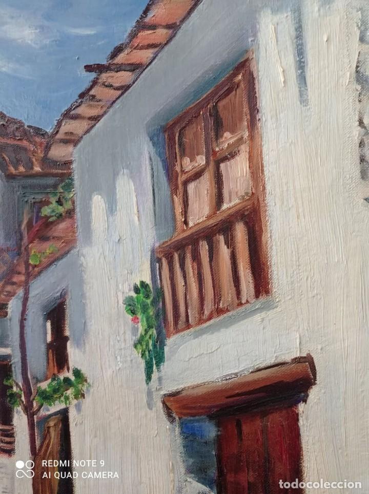 Arte: OLEO SOBRE LIENZO CALLE DE PUEBLO - Foto 4 - 221648880