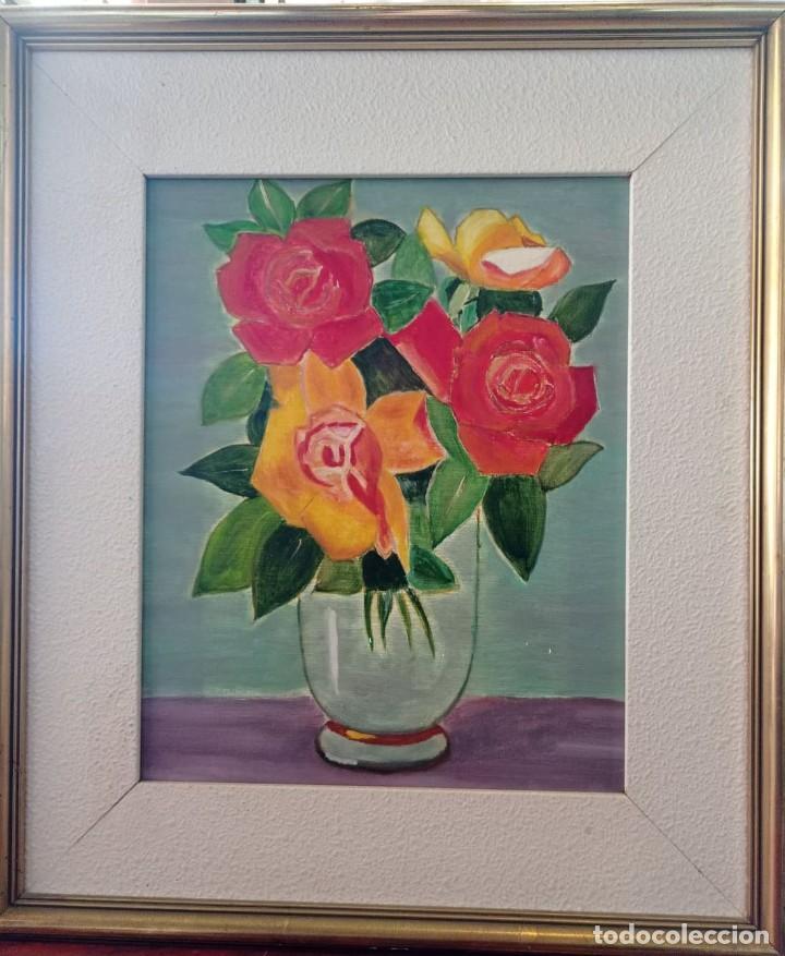 OLEO SOBRE LIENZO BODEGON FLORES (Arte - Pintura - Pintura al Óleo Contemporánea )